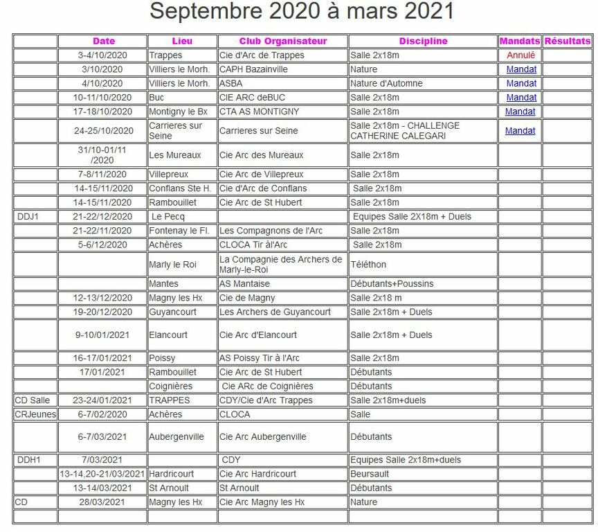 Calendrier hivernal 2020-2021